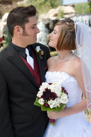Maroon and White Bridal Floral Arrangement