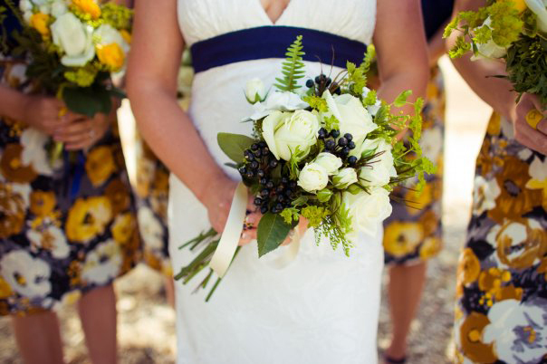 Blue and White Bridal Floral Arrangement