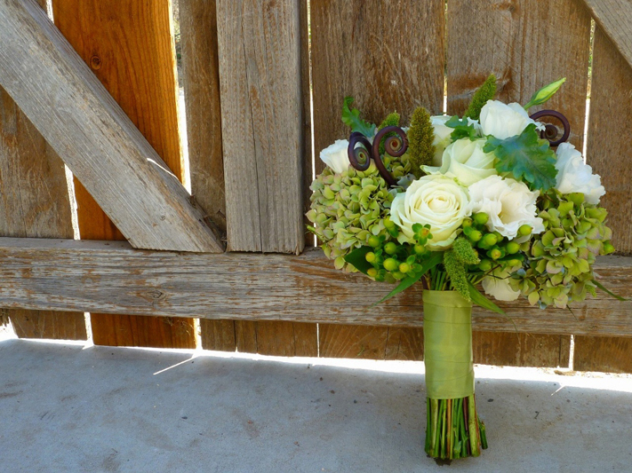 Ivory and Green Bridal Floral Arrangement