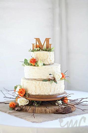 Ivory and Orange Wedding Cake